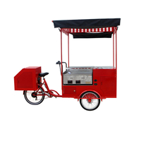 Red Color Electric Cargo Bike Street Vending Bicycle Adult Tricycle Beverage Drink Coffee Van Food Cart for Sale Customizable