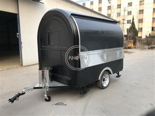 220cm Length Cart All Stainless Steel Food Cart for Fast Food Trailer Truck with 2 Big Wheels