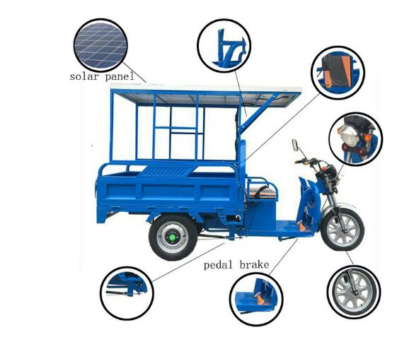 Free Shiping Electric Tricycle for Adult Mobile 2020 Design Cargo Tricycle Food Cart With Solar Panel Can Be Customized